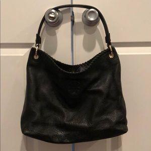 Black Leather Tory Burch Shoulder Bag